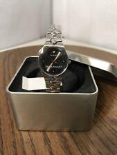 Women's New Fossil PR5151 Diamond Stainless Steel Black Dial Watch W/Logo