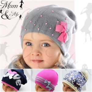 Kids Hat Girls Beanie Toddler Pull On Cap Spring Autumn Beret Knitted Hat