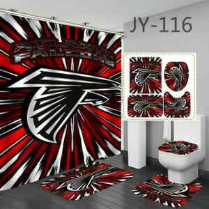 Atlanta Falcons 4PCS Bathroom Rugs Set Shower Curtain Non-Slip Toilet Lid Cover