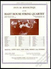 1936 Hart House String Quartet photo concert tour booking trade print ad
