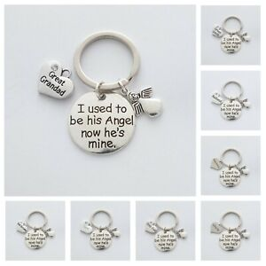 """""""I used to be his Angel now he's mine"""" Memorial - Choice of 28 Hearts - Keyring"""