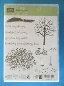 Stampin' Up SHELTERING TREE Acrylic Rubber Stamp Set SEASONS Bicycle