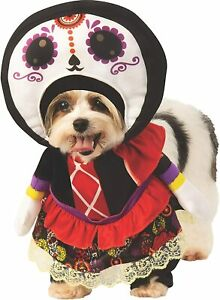Day of the Dead Lady Dia Muertos Fancy Dress Up Halloween Pet Dog Cat Costume