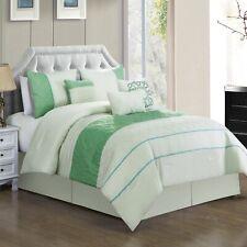7 Piece Zarah Embossed & Pleated Comforter Set Bed-In-A-Bag (Queen, Green)