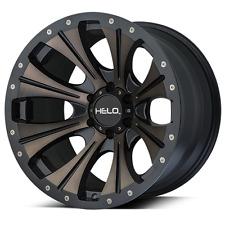17x9 Helo HE901 5,6,8 Lug 4 New Black Tinted Wheels Rims FREE Caps Lugs Stems