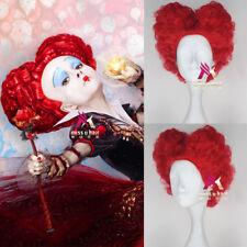 Alice in Wonderland Red Queen Wig Women Short Curly Red Cosplay Full Wig