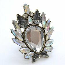 VINTAGE RETRO THRIFT STYLE MULTI  CRYSTAL GEEK CHIC COCKTAIL STATEMENT RING