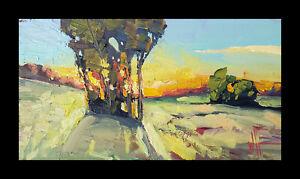 Wm HAWKINS  Valley  Sunset  Clouds Landscape Craftsman Original Oil Painting Art