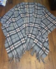 Johnston's 1797 wool shawl cape poncho tartan grey Red Black Plaid