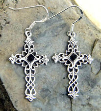 edle Ohrhänger Ohrringe Sterling Silber Onyx  Kreuz  Mittelalter Kreuz Gothic