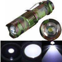 2000LM Lumens LED Three Mode Zoomable Mini Flashlight Torch Camo Light Lamp