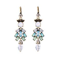 Women Jewelry Clip Earrings Me159 New Moonstone Prehnite Aquamarine White Topaz