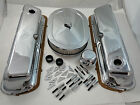 """SB Ford Chrome Steel Engine Dress Up Kit 289 302 351W W/ 12"""" Oval Air Cleaner"""