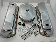 "SB Ford Chrome Steel Engine Dress Up Kit  289 302 351W W/ 12"" Oval Air Cleaner"