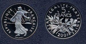 FDC : Splendide 5 francs semeuse 2001 BE neuve