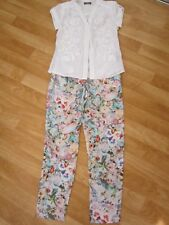 ladies sz 8 forever new floral pants & embroidered shirt top