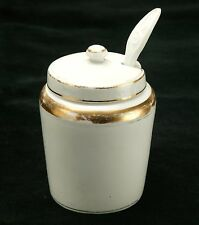Antiques 1910s Imperial Russian Porcelain Mustard Pot With Spoon By Kuznetsov.