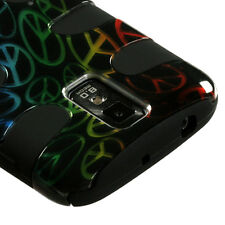 T-MOBILE SAMSUNG GALAXY S 2 II T989 DUAL LAYER 2 TONE HYBRID CASE RAINBOW PEACE