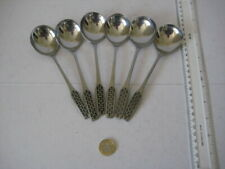 VINTAGE VINERS  STAINLESS STEEL SHAPE  6 SOUP SPOONS
