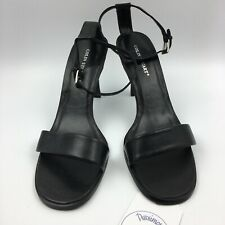 Colin Stuart Women's Black Leather Open Toe Ankle Strap Heels Shoes Size 11