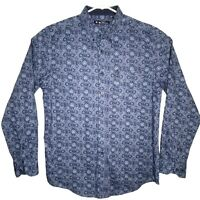 Ben Sherman Mens Blue Light Blue Abstract Design Long Sleeve Button Up Shirt Lg.