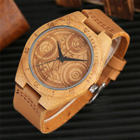 Creative Dr. Who Movie Natural Wood Mens Womens Quartz Wrist Watch Leather Gifts