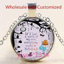 Alice in Wonderland Cabochon Tibetan silver Glass Chain Pendant Necklace #4701