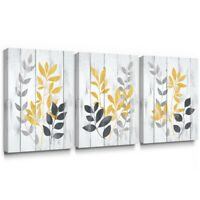Leaf Canvas Wall Art Yellow Grey Picture for Living Room Bedroom Decor 12x16 3pc