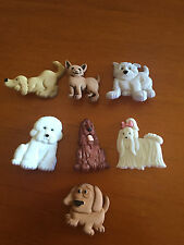 Novelty Dress It Up Buttons - Various Dogs in white, brown & grey - 4674