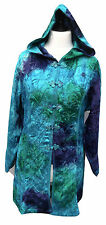 JORDASH Bohemian Embroidered Velvet Sea Blue Green Hooded Jacket Freesize 12-16