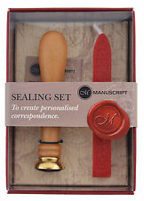 DELUXE CELTIC ROSE SEAL WOODEN HANDLE STAMP & RED SEALING WAX SET MANUSCRIPT 745