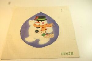 Needlepoint Canvas, Hand Painted, dede, Snowman Ornament 9 X 9 inches
