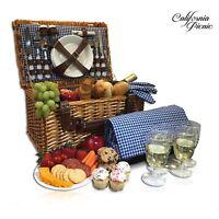 New Picnic Basket Set for 4 Perso,Folding Picnic Blanket,Picnic Cutlery Set