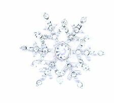Stunning sparkling silver tone crystal frozen snowflake flower brooch hat pin