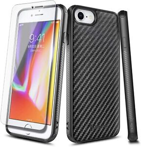 For iPhone 8 Plus 7 6s 6 Plus Case Carbon Fiber Design Cover With Tempered Glass