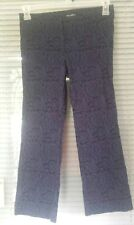 SOHO Apparel LTD Blue Black Embroidered Women's Stretch Pants Cropped Size 4