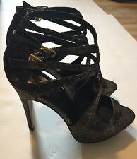 NWT Size 8 Women's DV Dolce Vita Peep Toe Dark Gold Snake Skin Strappy Heels