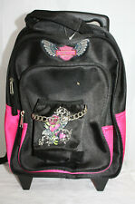 Harley Davidson Mini Rolling Backpack ~ 2 Sections 1 Pocket ~ w/ Patches, Chain