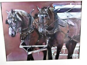 "ORIGINAL PASTEL OF ""PARADE HORSES"" BY LEONOR THORNTON, COLUMBIA CHILE ARTIST"