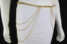 Hot Women Skinny Gold Metal Chains 3 Strands Hips Drop Fashionable Belt Size M L