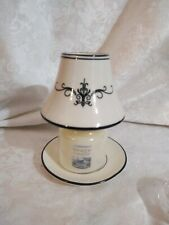 Yankee Candle Ivory And Black Small Jar Shade & Plate w/Small Steamed Vanilla...