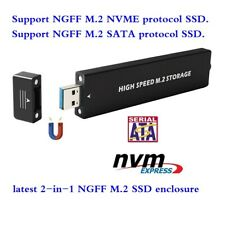 USB3.0 USB3.1 Type-A 2 in 1 ssd enclosure case for sata ngff m.2 nvme ngff m.2