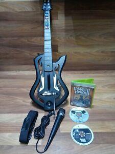 Xbox 360 Guitar Hero Warriors of Rock Wireless Guitar, Strap, Mic, GH 2 & 3 Game