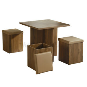 Woodyhome 5Pcs Dining Set Bar Table With 4 Stools Chairs Storage Ottomans Dining