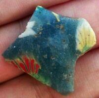 Ancient Egyptian Authentic Fragment Flower Mosaic Glass Antique Egypt Genuine 1