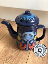 Wild & Wolf Folklore Forest Animals Enamel Tea Coffee Pot 4 Cup Blue New Kettle