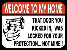 Welcome To My Home Protected By Security Retro Vintage Funny Metal Sign 9x12