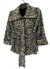 Susan Bristol jacket L brown black animal print belted lined 3/4 sleeve snap