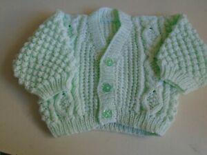 """New Hand Knitted Mint Green Aran Cardigan  20/22"""" chest  (aprox 12 -18 months)"""