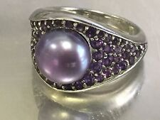 AFFINITY Purple Diamond ~0.4 TCW & 9mm Natural Pearl RING Sterling Silver Size 6